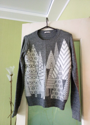 Свит шот свитер серый графит серебристая нить узор пайетки