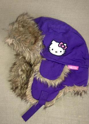 Детская зимняя теплая меховая шапка с ушами ушанка h&m hello k...