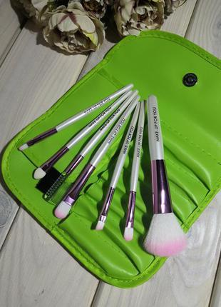 7 шт кисти для макияжа набор в футляре green probeauty