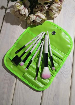 7 шт кисти для макияжа набор в футляре green/blk probeauty