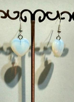 Серьги-сердечко(лунный камень).