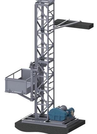 Н-75 метров, г/п 500 кг. Грузовые мачтовые подъёмники секционные