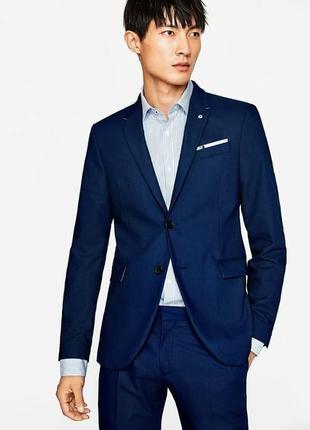 Синий базовый пиджак zara man !
