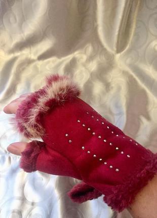 Перчатки без пальцев с мехом м l, митенки