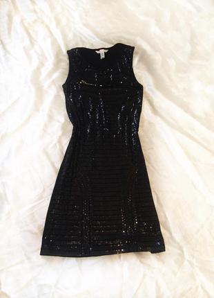 Платье чёрное, паетки, пайетки, блестящее