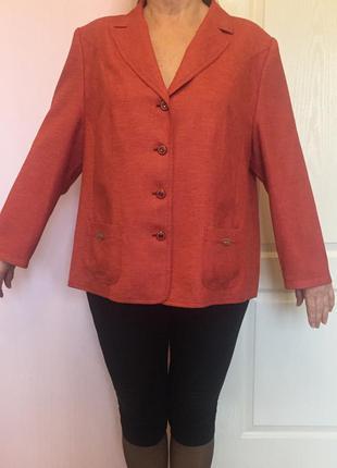 Жакет, пиджак, терракотовый, большой размер