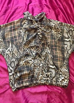 Винтажная блуза, топ, змеиный принт, питон, клетка