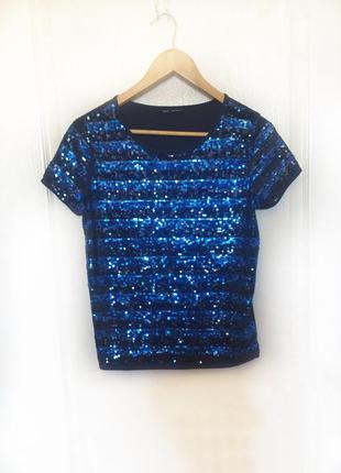 Блестящий топ, синяя футболка в пайетки, паетки