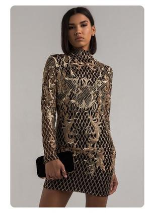 Шикарное черное с золотом мини платье, 🔥 барокко, вышивка, отк...