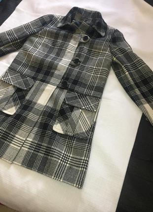 Пальто в клетку шерстяное франция париж шерсть, карманы, гусин...