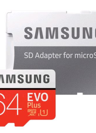Карта памяти Samsung Plus Evo 64 gb + Адаптер SD Card
