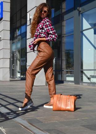 Невероятные брюки -джоггеры коричневый