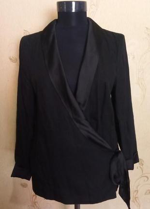 Стильная блуза пиджак на запах с атласом h&m