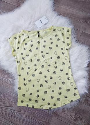 Базовая футболка из натурального хлопка хб коттон с лимонами