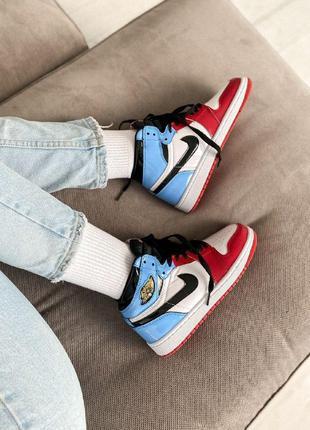 Кроссовки nike jordan 1 retro high blue red