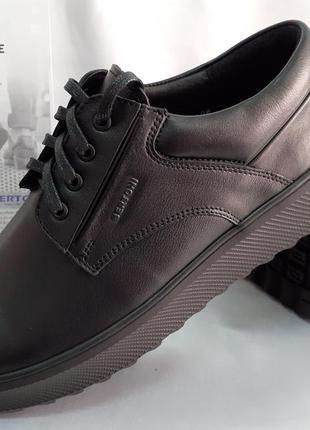 Осенние комфортные кожаные туфли на платформе bertoni 40-45р.