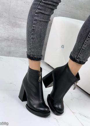 Чёрные кожаные ботильоны на каблуке,демисезонные женские ботин...