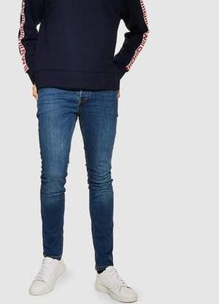Синие мужские джинсы скинни узкачи стрейч американки topman ун...