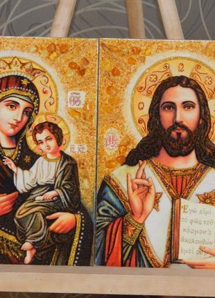 Венчальная Пара Иконы из янтаря,портрети(картины)КАРТИНИ З БУРШТИ