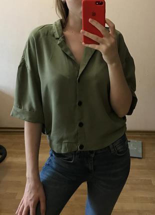 Рубашка топ футболка zara цвета хаки