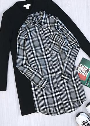 Рубашка длинная в клетку туника h&m
