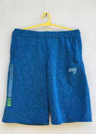 Синии спортивные шорты найк,хлопковые меланжевые шорты nike