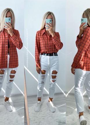 Оранжевая коралловая рубашка блуза оверсайз в клетку. рубашка ...