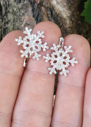 Серьги снежинка из серебра
