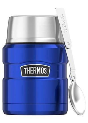 АКЦИЯ! Термос для еды детский Thermos с ложкой 470 мл Голубой ...