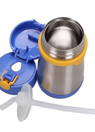 Термокружка детская с трубочкой Thermos FOOGO Vacuum, Blue 290 мл