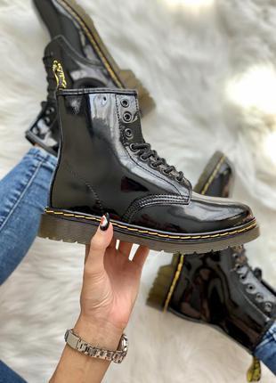 Кожаные осенние женские ботинки/ сапоги dr. martens 1460 paten...