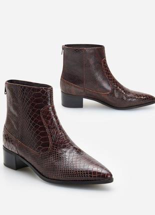 Ботинки натуральная кожа под змею