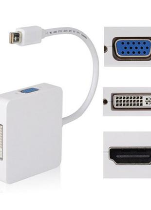 Переходник от mini DisplayPort DP на VGA, DVI, HDMI Thunderbolt.