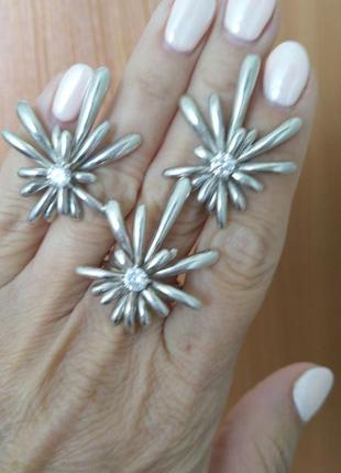 Изумительный серебряный сет: серьги и кольцо. сделайте себе по...