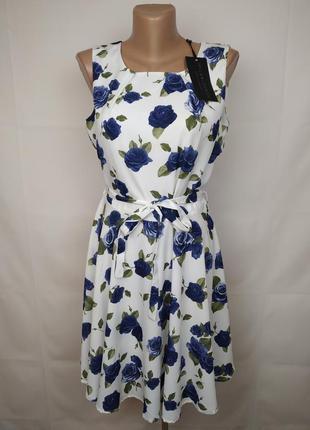 Платье новое красивое в цветы uk 14/42/l
