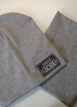 Комплект шапка и хомут серый меланж