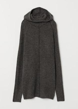 H&m свитер с капюшоном, воротник - труба,  шерсть, альпака, ун...