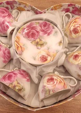Чайный сервиз набор фарфоровый 6 чашек для чая подарочный