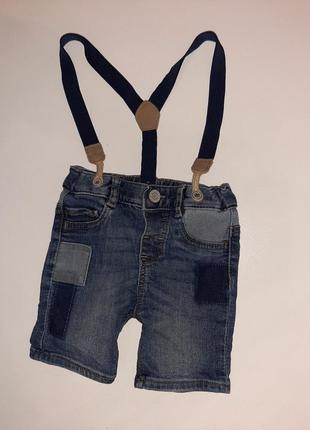 Шорты джинсовые с подтяжками