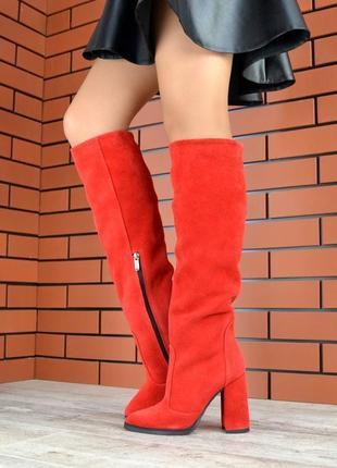 Осень натуральная замша люксовые сапоги на устойчивом каблуке ...