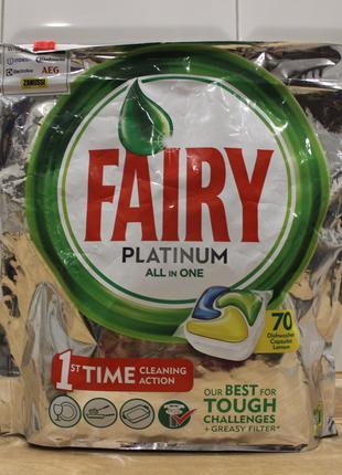 Fairy Platinum All in One капсулы для посудомоечных машины, 70 шт