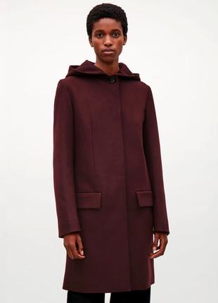 Cos 73% шерсть 5% кашемир полупальто шерстяное пальто кашемировое