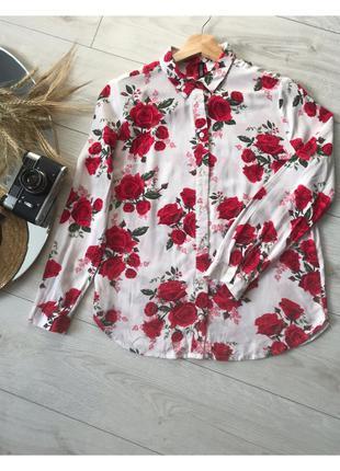 Блуза, цветочный принт, рубашка, h&m