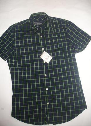 Фирменная рубашка тонкая клетка новая на 44-46 размер
