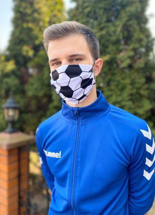 Тканевая маска для лица с футбольным дизайном детские и взрослые