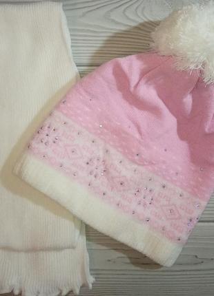 Шапка снежинки зимний комплект набор для девочек agbo
