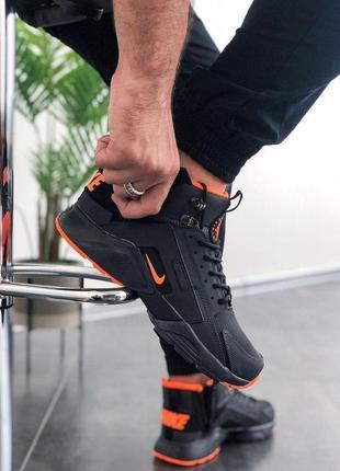 Кроссовки nike huarache winter acronym black orange