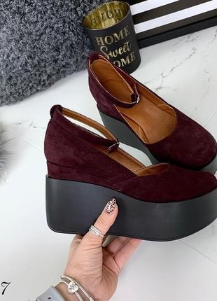 Замшевые туфли на платформе с ремешком,туфли на высокой платфо...