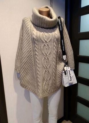 Теплое стильное пончо кардиган накидка кофта