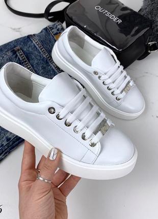Кожаные белые кроссовки,белые кроссовки из натуральной кожи.